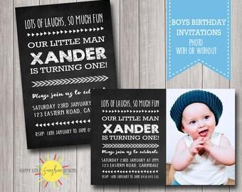 Custom Printable Boy Birthday Photo Invitation Any Age 1st Birthday Chalkboard Black and White