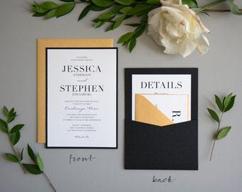 Black Tie Wedding Invitation SAMPLE, Panel Pocket, Black and Gold
