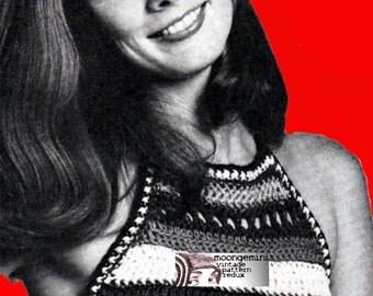 Crochet Halter Summer Top Vintage Crochet Pattern PDF