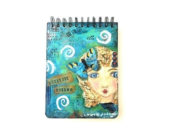 Altered Book: Creative Dreams Sketch  Pad, Mixed Media Art Journal, Earthy by Design