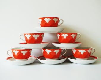 Ceramic red and white tea cups coffee mocha saucers 5 vintage tea Soviet time white leaves red background jug mug china porcelain