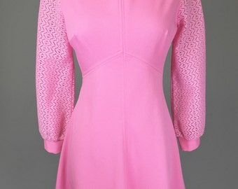 Bubble Gum Pink, 60s Vintage Dress // 1960s, Costume, Mod, Women's Size Small