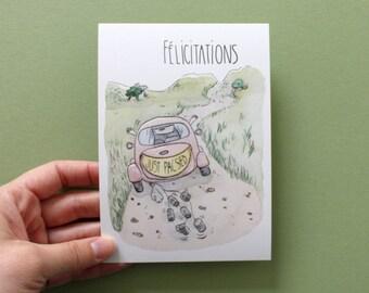 PACS : carte de félicitations unisexe. Carte de voeux JUST PACSED. Couleurs douces à l'aquarelle. Pour couples homos ou hétéros