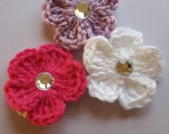 Small Flower on Ribbon Lined Alligator Clip (set of 3)