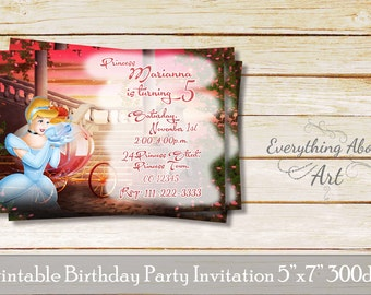 Cinderella birthday invitation, Cinderella birthday, Cinderella party invite, Cinderella birthday party theme, Cinderella invitations