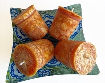Pumpkin Pie Organic Palm Votive Set- Natural Candles- Decorative Votives- Vegan- Votive Set- Holiday Gifts-  Housewarming Gifts