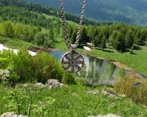 Kolovrat Slavic Pendant Amulet Sterling Silver Necklace Norse Viking Jewelry (A star of Russ)