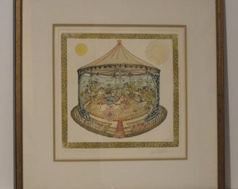 Original Surrealist Colored Etching Signed By G.Silva Santamaria 1969, Carrusel.
