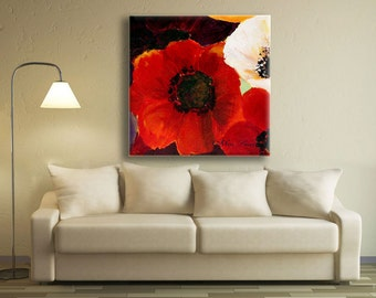Poppy Painting, New Home Art, Large Art, Wall Decor, Flower Painting, Nature Painting, Wall Art by Miri Lavee