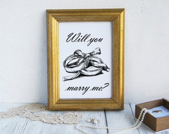 Quote prints, Will you marry me, Wedding gift, Wedding rings print, Couple gift, Wedding signs, Love sign