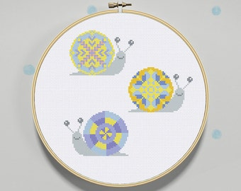 Baby Cross Stitch Pattern Colorful Snails - Modern Cross Stitch Pattern - PDF Instant Download
