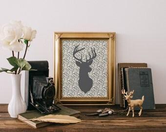 Floral deer print, Deer printable, Nursery art print, Nursery decor, Deer wall art, Antler print, Floral deer poster Instant download BD-995