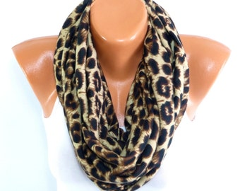 infinity Scarf, Leopard Scarf, Loop Scarf with Leopard Patterned, Shawl, Women Fashion Accessories, Winter Scarf, Fall Scarf, Christmas gift