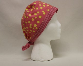 Pink and Yellow Polkadot Surgical Scrub Cap Chemo Hat