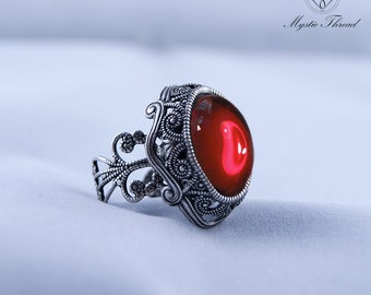 Ruby gem victorian ring-gothic ring-victorian ring-vintage ring-silver ring-Ruby gem ring-adjustable ring-gothic jewelry-victorian jewelry