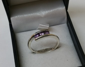 18.6 mm ring silver Crystal stones lilac SR568