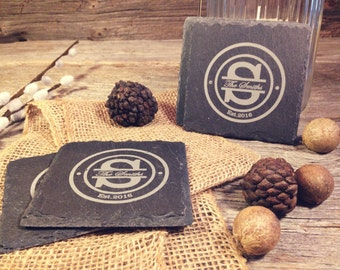 Slate Coasters w/Circle Initial Design - Laser Etched