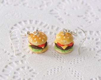 Food Jewelry, Cheeseburger Earrings, burger earrings, foodie jewelry, food earrings, miniature food jewelry, cheeseburger, food, foodie gift