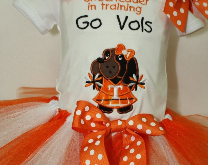 University of Tennesee Volunteer girl outfit, UT Volunteer cheerleader outfit, Tennessee cheerleader applique, Orange and white tutu, Vols
