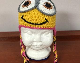 Pink minion crochet hat, girl minion hat