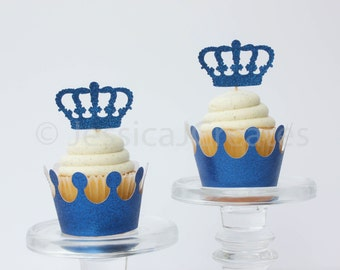 Cupcake Wrappers - Gold Cupcake Wrappers - Glitter Crown Cupcake Wrappers  - Prince Party Theme - Baby Prince Party