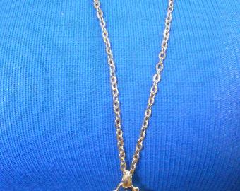 Gold Tone Long Chain w/ Key Charm and Matching Earrings
