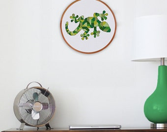 Geometric Gecko cross stitch pattern| Mosaic chameleon cross stitch chart| Modern lizard pattern| Funny animal pattern pdf| Instant download