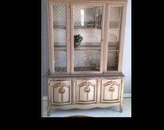 FREE SHIPPING Hutch Annie Sloan Chalk Painted Furniture, Gold Accents, Coco, Distressed, Hand Painted Paper