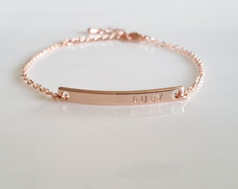 Rose Gold Jewelry Bracelet, Rose Gold Bar Bracelet, Daily Bracelet, Nameplate Bracelet, Bridesmaid Gift, Dainty Everyday Bracelet