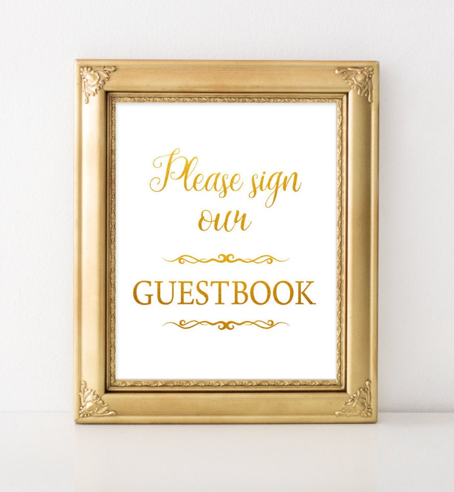 Gold Foil Wedding guestbook sign Alternative wedding ceremony