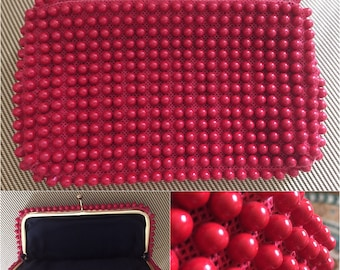 Vintage  Clutch, in Red Bubble Beads