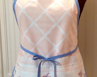 Vintage up-cycled full apron blue peach shabby chic