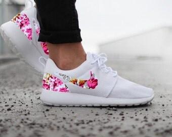 Roshe Run Weiß Blumen