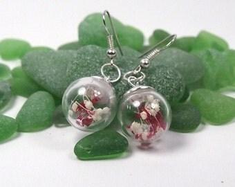 Long earrings. Crystal sphere with dried flowers. Earrings pendant sphere. Natural earrings. Style boho. Earrings dry flower.