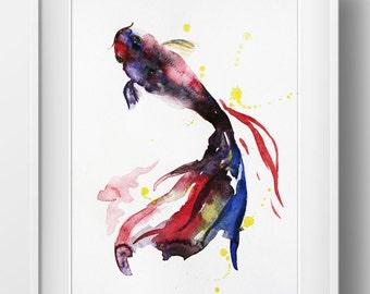 Original Watercolor Painting, Koi Fish, Gold Fish, Sea Goldfish, Girt for her, Ocean Shubunkin, wall art, koi fish watercolor, Art OOAK