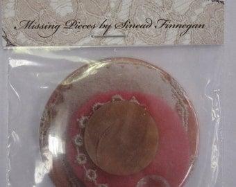 Pink button corsage, Pocket Mirror, 48 cm, handmade