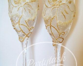Wedding toasting glasses, Champagne glasses,Champagne flutes,Vintage, Lace,Anniversary Glasses,Toasting flutes