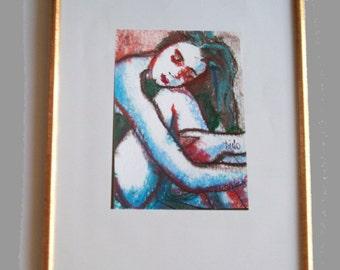 Océane 2  - Original 9/13 cm. sur papier aquarelle 12/16. Encre de chine à la plume et pastels à l'huile.
