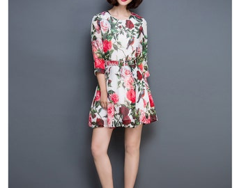 Shanshui - Floral print manmade silk dress,  chiffon midi dress in retro style