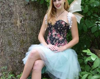 Black Floral Corset, steampunk,flowers,edwardian,victorian,reniassance faire,goth,woman,gifts,teen girls,costume,cosplay,fantasy,cool stuff