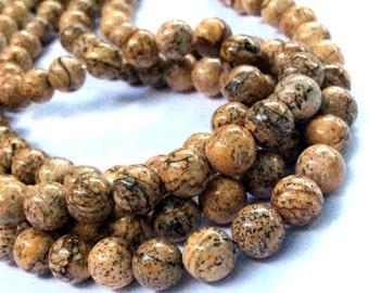 8mm Picture Jasper Gemstone Beads - 14inch Full strand - Round Gemstone Beads