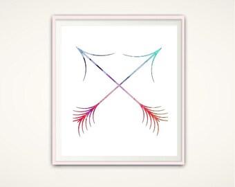Arrow Wall Art - Arrow Print, Watercolor Arrows, Arrow Decor, Crossed Arrows, DIGITAL Print, Arrow Art, Arrow Wall Decor, Watercolor Print