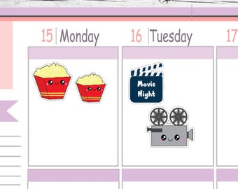 Choice Itty Bitty or ECLP Kawaii Popcorn Movie Night Stickers To Use With Erin Condren Planner