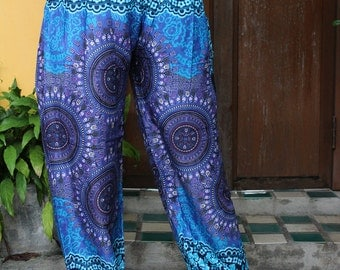 Harem Pants / Yoga pants / Hippie Pants /Boho Pants Peacock Design in Blue