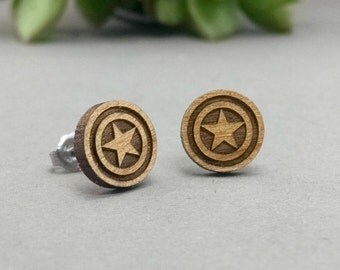 FREE US SHIPPING - Captain America Shield Post Earrings - Laser Engraved Wood Earrings - Hypoallergenic Titanium Post Earring Pair