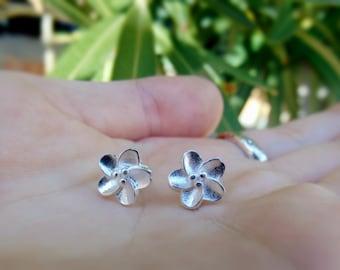 Sterling Silver Stud Earrings - Flower Earrings - Minimalist Stud Earrings