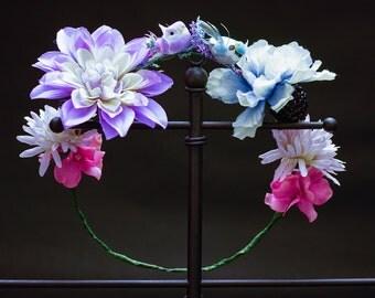 Pastels with Birds Flower Crown - OOAK