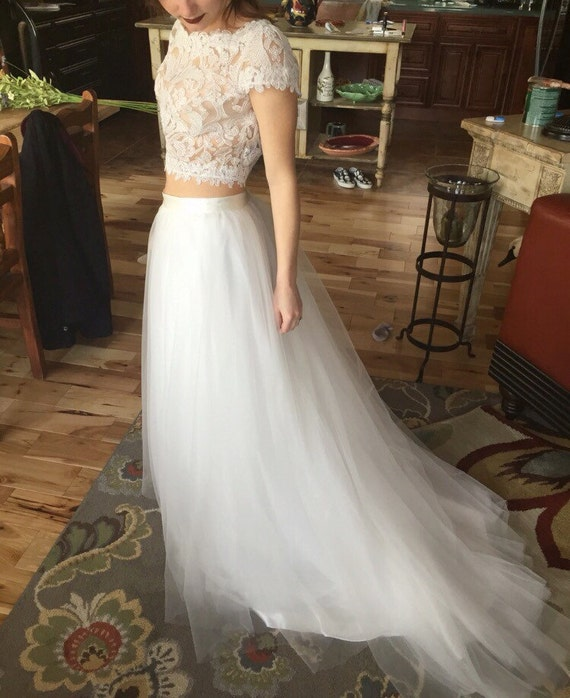 Bridal tulle skirt with train / boho dress skirt with train