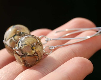 Lampwork and silver earrings, Glass Earrings, Lampwork flower glass artisan bead earrings, brown flower, handmade glass earrings, yellow