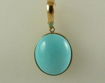 Reconstituted Turquoise 13.7 mm x 11.4 mm Pendant 14k Yellow Gold